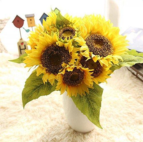 Demarkt Künstliche Sonnenblume Plastik Sonnenblume Deko Blumen Kunstoffpflanzen