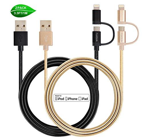Preisvergleich Produktbild 2 in 1 Ladekabel Micro USB Kabel Lightning Ladekabel , FOXSUN [2Pack/1m] Nylon umflochtenes 2 in 1 Kabel [Apple MFi zertifiziert] Iphone Ladekabel für iPhone 7/7 Plus SE 6S/6S Plus 6/6 Plus, 5S/5C/5 , iPad Air 2, iPad Mini 3 und Android Geräten(Schwarz und Golden)