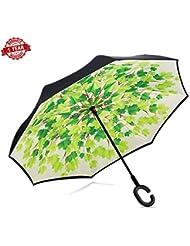 Reverse Double Layer Folding Regenschirm Zusammenklappbar Double Layer Sun Block Umweltfreundliche Bumbershoot Schutz Regenschirm Mit, C-F?rmigem H?nde Frei Griff