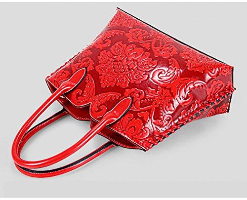 AnKoee Borsa Cartella Donna a Mano e Tracolla Portadocumenti Borsa a Tracolla Corpo Trasversale Sacchetto di Tote (Marrone) Rosso