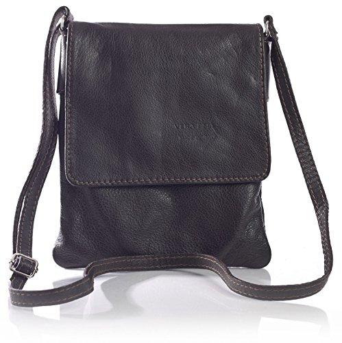 BHBS Kleine Damen Cross-Body-Tasche Mit Echtem Weichem Leder 18 x 23 cm (B x H) Grn Grau