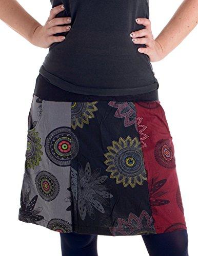 Vishes - Alternative Bekleidung - Mit Blumen bedruckter Patchworkrock aus Baumwolle - mit Taschen schwarz-rot 42 Filz Rock