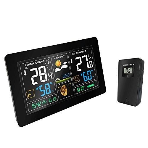 Wetterstation, kabellos, mit Außensensor, Anzeige von Temperatur, Luftfeuchtigkeit, Wecker, Kalender, LCD-Display für Zuhause