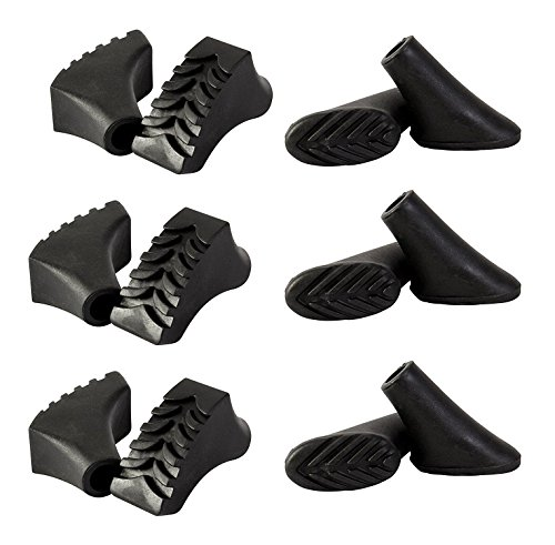 ATTRAC 12 Stück / 6 Paar Nordic Walking Pads für alle gängigen Modelle - für Asphalt und Stein (Gelände)