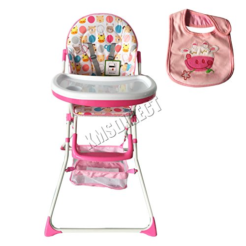 FoxHunter Portable Baby High Chair Infant Child Toddler Booster Nursery Furniture Folding Feeding Seat With Tray Storage Basket Bib Pink 51X4BSJZrcL
