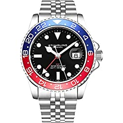 Stuhrling Original Montre pour Homme avec Bracelet jubilé en Acier Inoxydable GMT Double Fuseau horaire Date de réglage Rapide avec Couronne vissée résistant à l'eau jusqu'à 10ATM (Blue/Red)