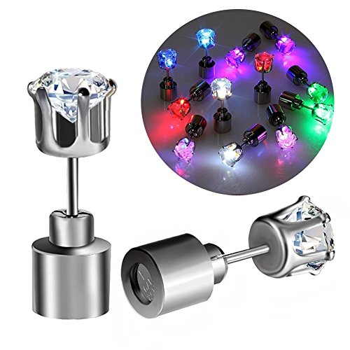 owikar LED-Ohrstecker, 5 Paar Glowing Light Up Diamond Crown Die Drop Kristall Anhänger Light Up Ohrringe/Ohrstecker Multicolor leuchtenden Elegant Fashion Ohrringe für Männer Frauen Party (Ringe Schmuck Lila Schal Box)