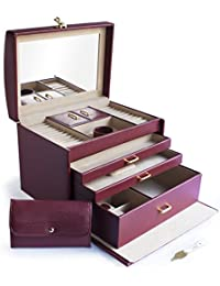 """Cordays - Large 12"""" Jewellery Box Organiser with 3 Drawers, Mirror, Handle and Travel Case - Handcrafted in Top Quality Vegan Leather- Marsala CDL-10024"""