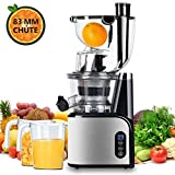 Aobosi Extracteur de Jus Vertical Slow Juicer 80mm Large Bouche Extracteur de Jus Presse à Froid Machine Quiet High Moteur Nutritif Jus de Fruits et Légumes Avec Jus Tasse et Brosse de Nettoyage