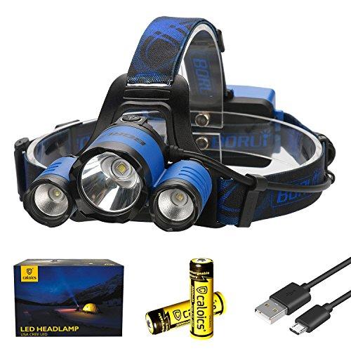 Caloics Kopflampe, Boruit® LED Stirnlampe, 1 * Cree XML-L2 & 2 * XP-E mit 5000 Lumen, extrem heller Scheinwerfer, wieder aufladbar, wasserdicht für jedes Wetter zum Laufen, Jagen, Radfahren, Wandern, Camping, Angeln, SOS Blinker (Blau)