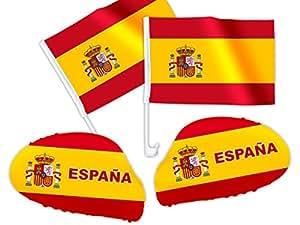 4 tlg. Alsino Spanien WM Fanartikel Auto Fanset Fanpaket AutoflaggenSpiegelüberzug Autofahne