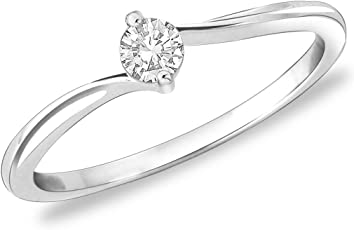 Peora Classic Proposal Cz 925 Sterling Silver Rhodium Finish Ring For Women