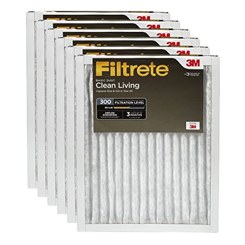 25x25x1 , 6 : Filtrete Clean Living Basic Dust Filter, MPR 300, 25 x 25 x 1-Inches, 6-Pack