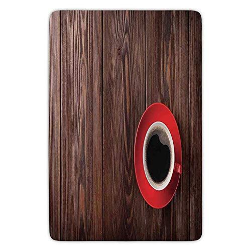 tchen Floor Mat Carpet,Modern,Fresh Coffee in Mug Cafe Art Image on Rustic Wooden Background Beans Kitchenware Design Decorative,Brown Red,Flannel Microfiber Non-slip Soft Absorben ()