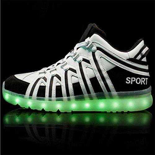 Damen / Herren klassische LED-Lichter Turnschuhe Mode Sportschuhe sieben Farben ändern vier Arten von blinkenden Modus black
