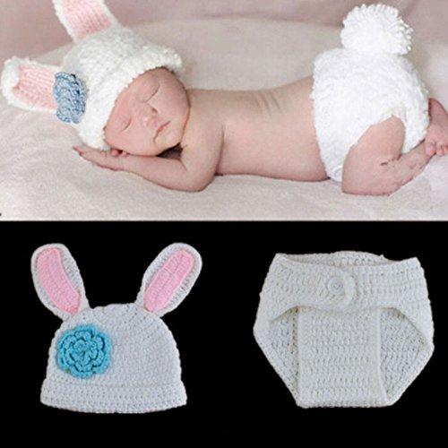 Imagen de tenflyer hecho a mano disfraz de conejo ganchillo beanie caps establece toddler fotografãa atrezzo