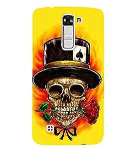 For LG K7 :: LG K7 Dual SIM :: LG K7 X210 X210DS MS330 :: LG Tribute 5 LS675 dangerous skull ( dangerous skull, skull, rose, flower, funny skull ) Printed Designer Back Case Cover By CHAPLOOS