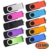 Pendrive 128MB 10 Piezas - Almacenamiento de Datos Extern - Colores Mezclado Regalos Promocionales Memoria USB by Kepmem