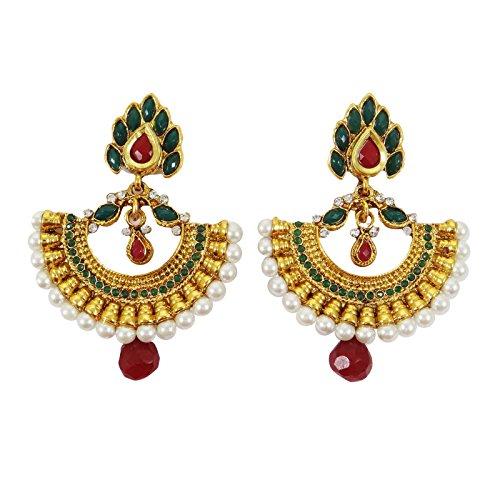 Traditionnelle Indienne Bollywood Ton Or Cz Boucle D'Oreille Dangle Demoiselle Cadeau De Bijoux Pour Elle Vert