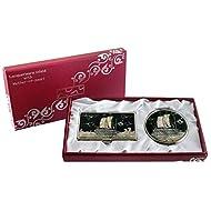 Mère de perle Bateau Tortue Conception Loupe Double miroir compact de maquillage avec porte carte crédit Nom de Visite de Gravure Fine en acier inoxydable d'argent cas