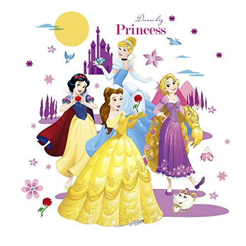 ufengke Wandtattoo Prinzessin Schloss Wandsticker Wandaufkleber Blumen Mond Für Babyzimmer Kinderzimmer Mädchen (Wandtattoo Prinzessin Schloss)