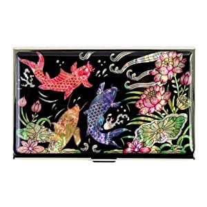 Porte-Cartes asiatique nacré avec fleurs de lotus et poissons