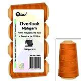 4 Stück Spulen Overlock - Nähgarn, orange, a. 2743 m, NE 40/2, 100% Polyester, Nähfaden, Nähmaschinen Garn, 2948