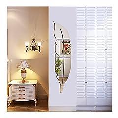 Idea Regalo - Syclecircle Luminosa Piuma Specchio da Parete, 3D Specchio Adesivo Rimovibile Arte Muraria per Soggiorno Camera da letto Ufficio Decorazioni per la casa 120x30cm (Sinistra)