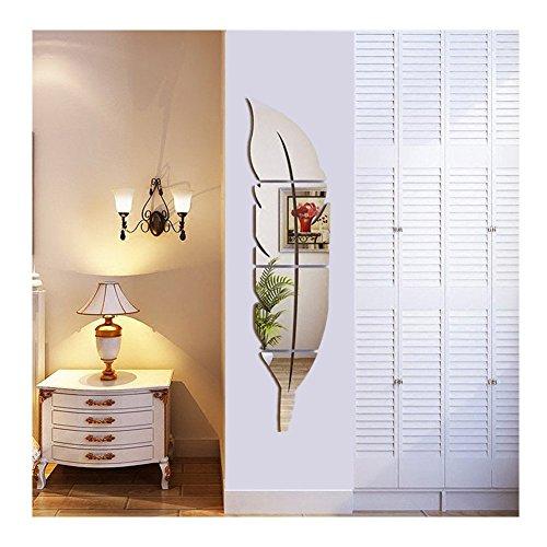 Syclecircle Brillante Pluma Espejo de Pared, 3D Espejo Decorativo Moderno Arte de Pared Desprendible para Sala de Estar Dormitorio Decoración del Hogar 120x30cm (Lzquierda)