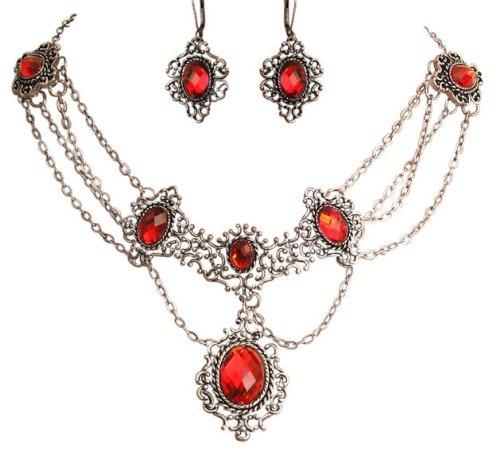 Trachtenschmuck Dirndl Kristall Collier Set - klassisch - Kette & Brisur Ohrhänger - Siam rot