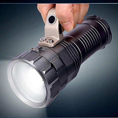 Bestsun Super Bright Zoomable Flood/Spot LED Cree Xml-l2 T6 haute lumens tactique lampe de poche portatif Searchlights Portable recherche lumière rechargeable 18650 Batterie (incluses) Alimenté par lampe torche