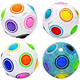 lunaoo Magic Ball Puzzle 3D, 4 Pezzi Palla Arcobaleno Giocattolo per Bambini
