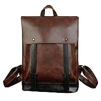 Jamron Unisex Women Men Vintage Dark Brown Backpack Handbags Crazy Horse PU Leather College School Bags Casual Daypacks