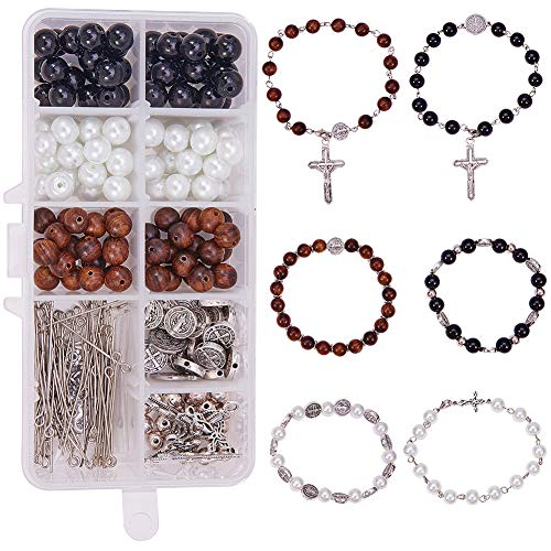 SUNNYCLUE 1 Box DIY 6 Set Perlen Stretch Rosenkranz Armband Bastelset katholisch Jesus Christus Kruzifix Kreuz Gebetsperlen Bastelset nickelfrei