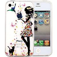 JIAXIUFEN teléfono caso cubrir volver piel protectora Shell Carcasas Funda para iPhone 4 4S - Flower Small Girl