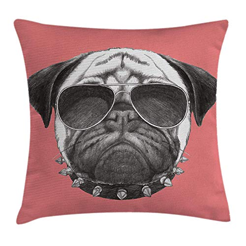 K0k2t0 Animal Throw Pillow Cushion Cover, Pink Backdropped Hand Drawn Cute Pug Dog with Sunglasses and Colar Illustration, Decorative Square Accent Pillow Case, 18 X 18 inches, Coral and Grey