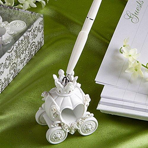 Lanlan Romantische Hochzeit Zubehör Hochzeit Stift und Kürbis Kutsche Design Base-Set weiß 16cm