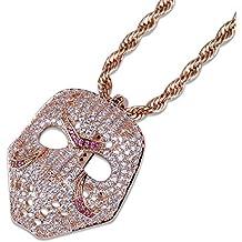9d7789f769a9 Qiulv Máscara Colgante Cadena Individual Collar Hip Hop Helado Bling CZ  Chapado En Oro Circón Joyería