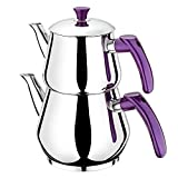 Ertex Türkischer Teekocher  Tee- und Wasserkocher Demlik Caydanlik Semaver Samovar PIRAMIT MINI (Lila)