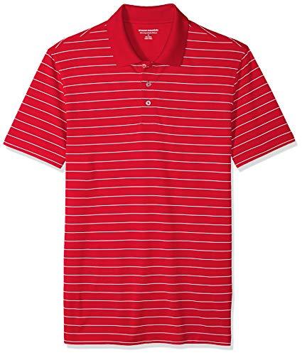 Amazon Essentials Slim-Fit Quick-Dry Stripe Golf Polo Shirt Poloshirt Herren, red, US M (EU M) - Red Golf-polo-shirt
