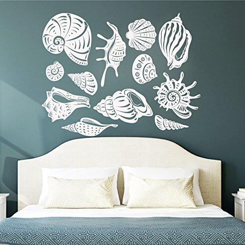 IncredibleWallDecals Sea Shell Wandaufkleber Vinyl Aufkleber Badezimmer Aufkleber Dusche Baby Nautisches Kindergarten Schlafzimmer Home Decor Art Wandmalereien (mn796), Vinyl, 64cmTall x 150cmWide