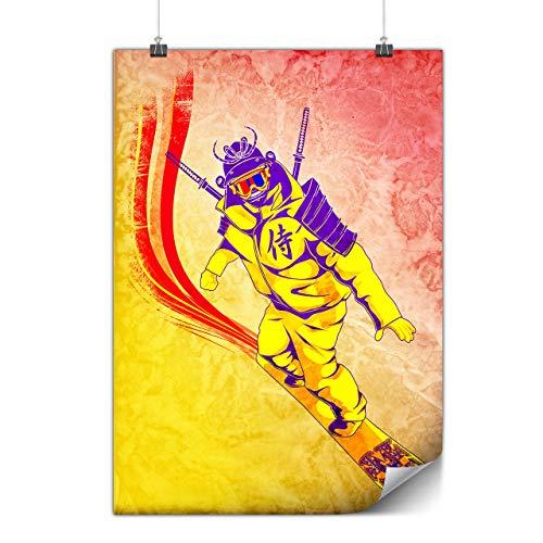 Wellcoda Snowboard Samurai Plakat Modern A0 (119cm x 84cm) Glänzend schweres Papier, Ideal für die Gestaltung, Einfach zu hängen - Glänzende Klinge Kostüm