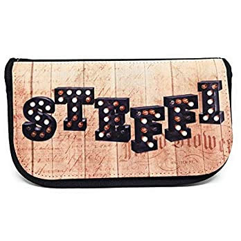 Personalisierte Kosmetiktasche Holztrend mit Namen. Kosmetiktasche mit Namen im Holzdesign. Geburtstagsgeschenk für Mädchen und Frauen.
