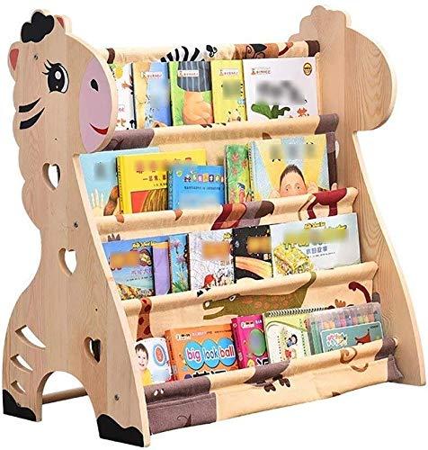 AOLI Bücherregale Cartoon Massivholz-Bodenrahmen Kinder-Grundschule Einfache Zeichnung Magazine Rack Bücherregal,60 * 40 * 75cm