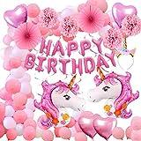 Aperil 52pcs Einhorn Party Supplies Dekorationen Luftballons, riesige Helium Folie Einhorn Herz und Latex Happy Birthday Banner Einhorn Stirnband Papier Pom Poms hängen Swirl für Kleinkind Mädchen