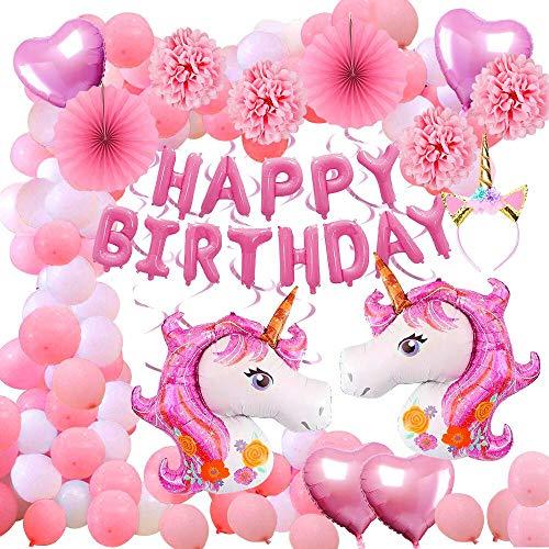 Aperil 52pcs Einhorn Party Supplies Dekorationen Luftballons, riesige Helium Folie Einhorn Herz und Latex Happy Birthday Banner Einhorn Stirnband Papier Pom Poms hängen Swirl für Kleinkind Mädchen Hängen Latex
