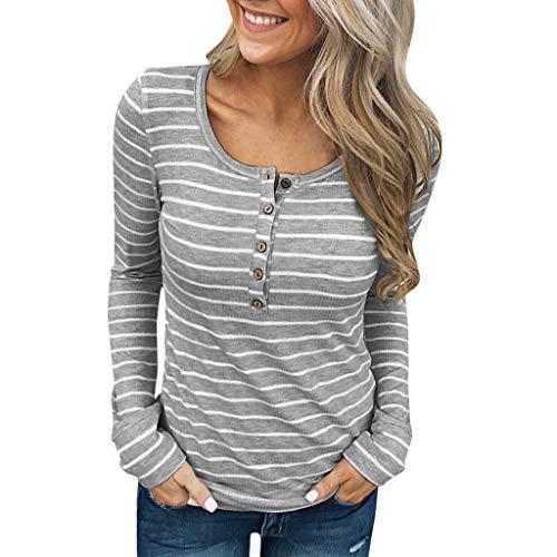 Damen Blusen Tuniken Shirts Gestreiftes langärmliges Oliviavan Pulli Bluse Frauen T-Shirt Tops Streetwear Elegant Schön Freizeit Stil T Shirt Lang