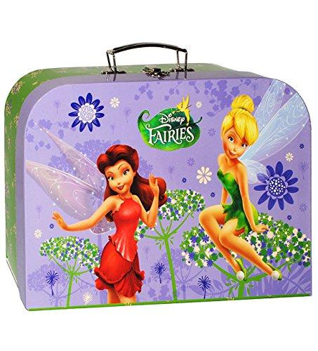 Unbekannt Koffer / Kinderkoffer -  Disney Fairies / Tinkerbell - Fairy  - Pappkoffer - groß - Puppenkoffer Koffer - Reisekoffer aus Pappe mit Metall Griff - für Kinde..