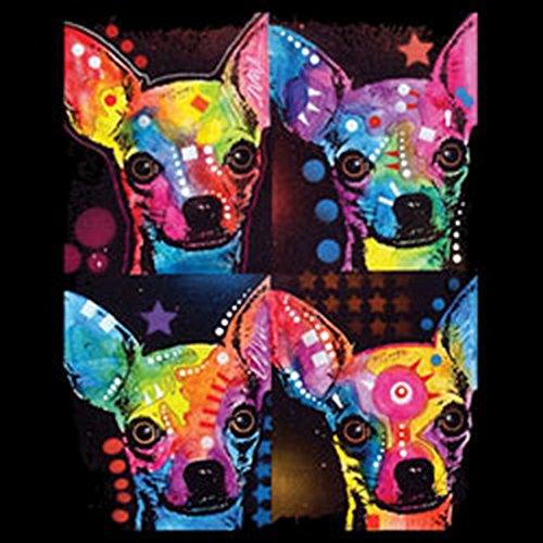 Damen Tanktop mit buntem Hunde Motiv - 4 Chihuahuas - Hundebild - Geschenk für alle Tierliebhaber und Hundefans - schwarz Schwarz