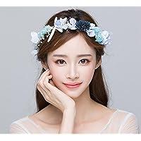 ZGP &Tocado Corona Corona Azul Bride Headdress Honeymoon Accesorios de Boda Coreana Flor de Boda Adornos de Pelo